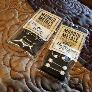 Morbid Metals Nipple Piercings 2 sets NEW